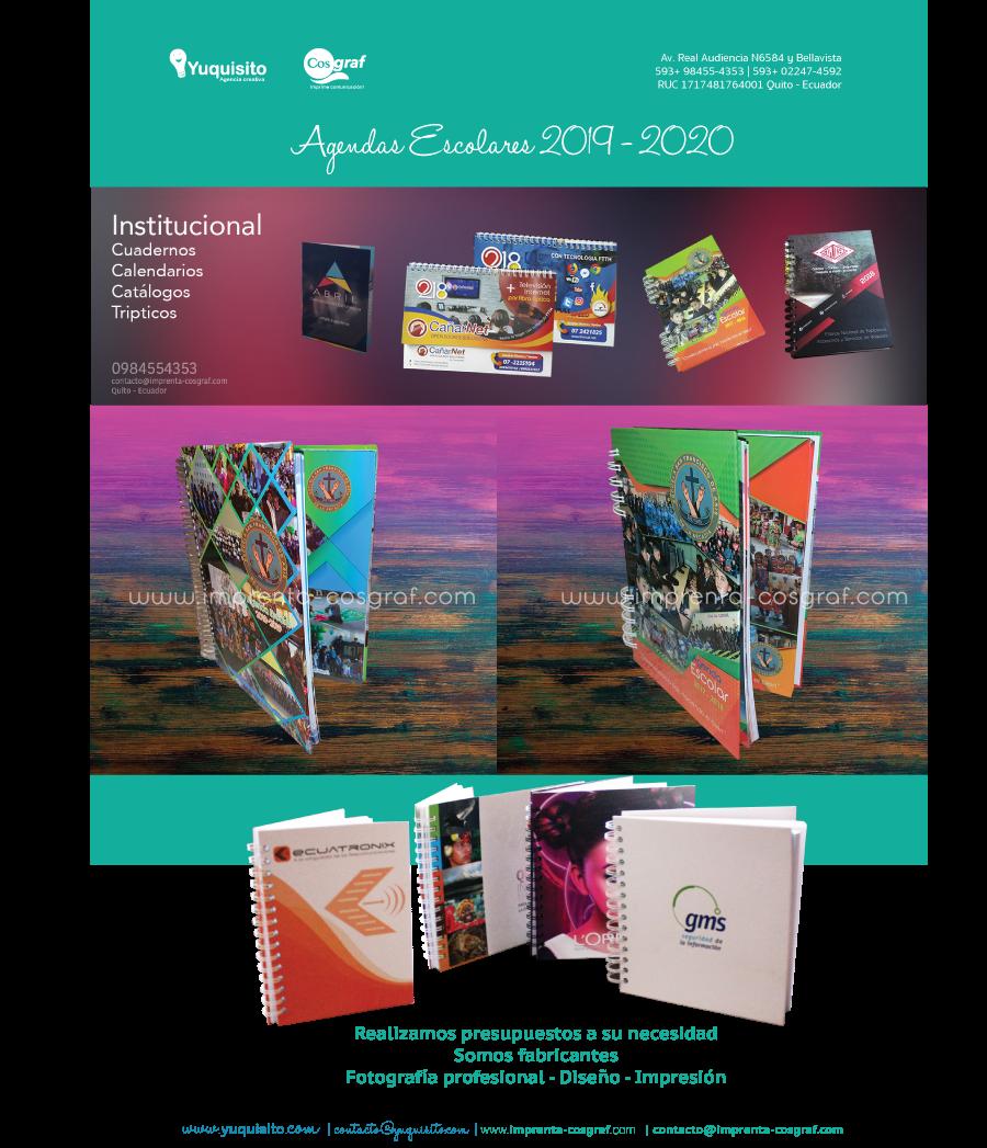 agendas escolares cuadernos ecuador 2019